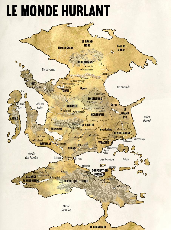 Carte du Monde complète parchemin légende copie